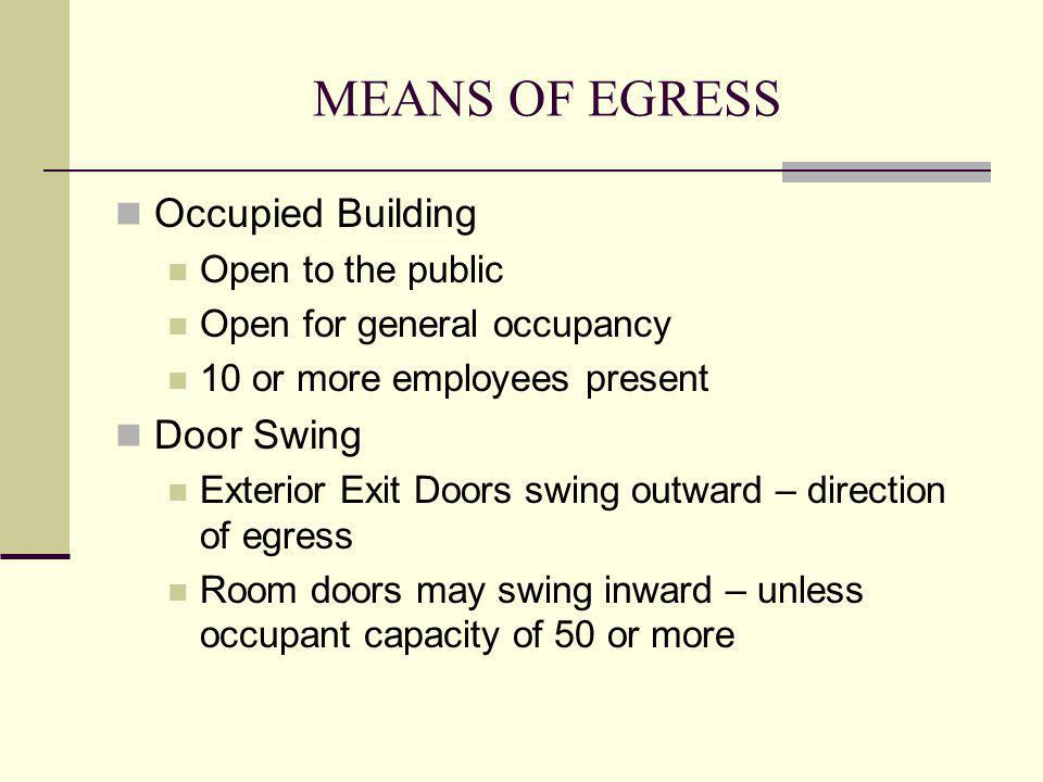 MEANS OF EGRESS Occupied Building Door Swing Open to the public
