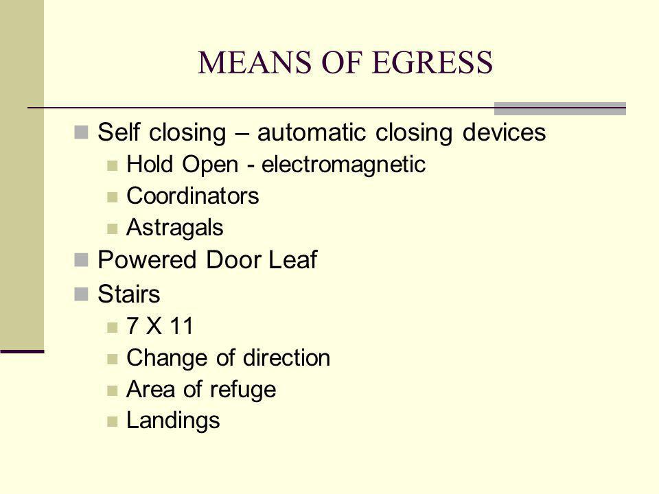 MEANS OF EGRESS Self closing – automatic closing devices