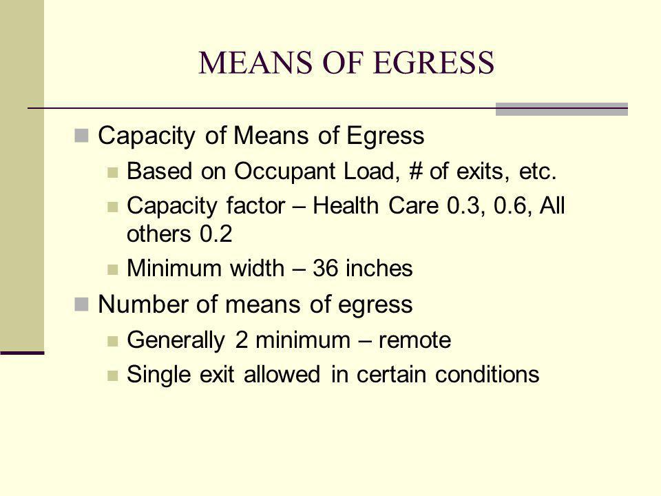 MEANS OF EGRESS Capacity of Means of Egress Number of means of egress