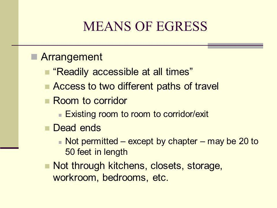 MEANS OF EGRESS Arrangement Readily accessible at all times
