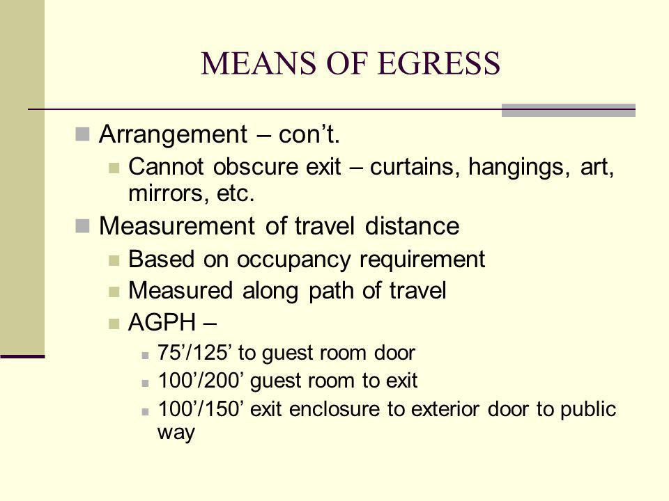 MEANS OF EGRESS Arrangement – con't. Measurement of travel distance