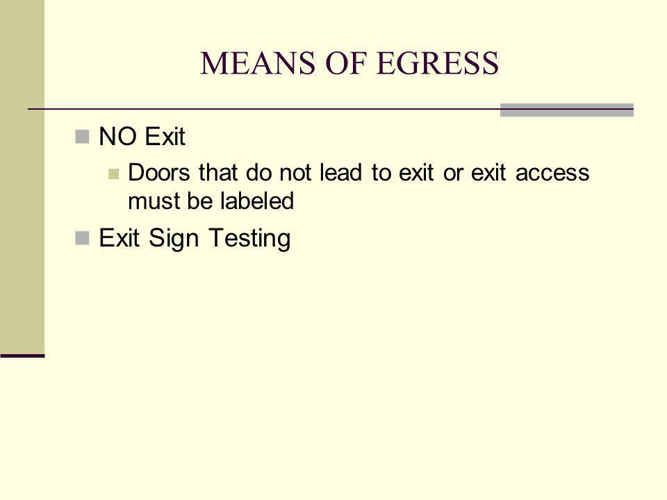MEANS OF EGRESS NO Exit Exit Sign Testing