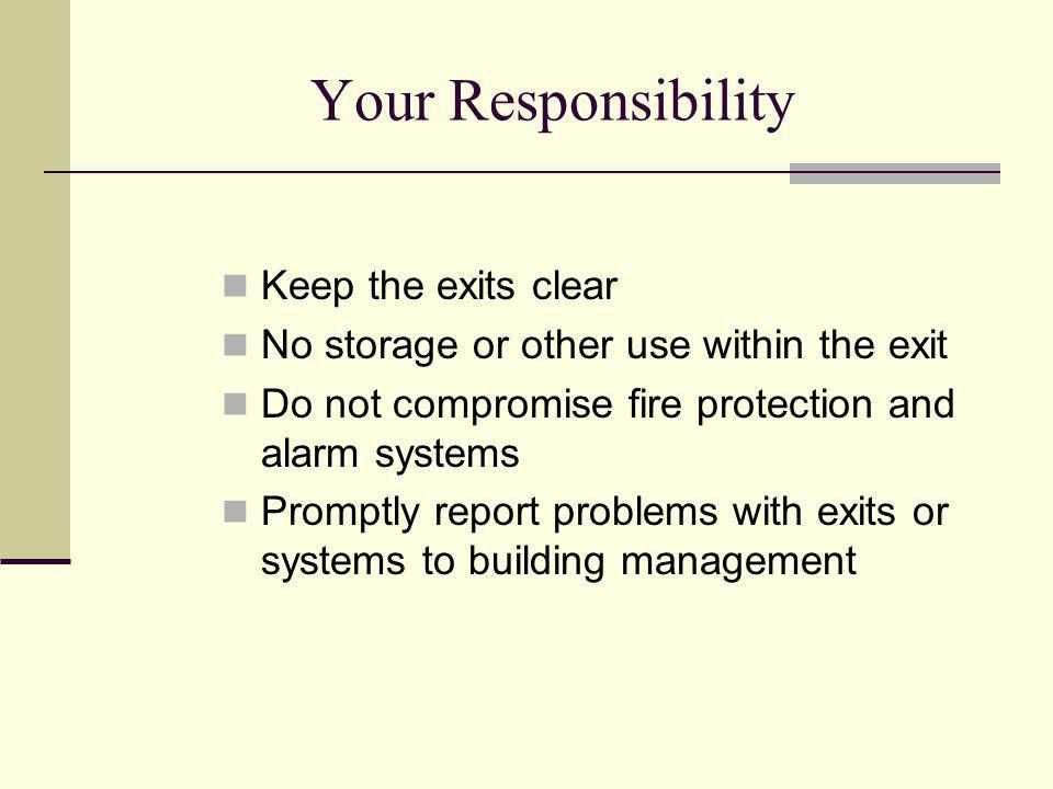 Your Responsibility Keep the exits clear