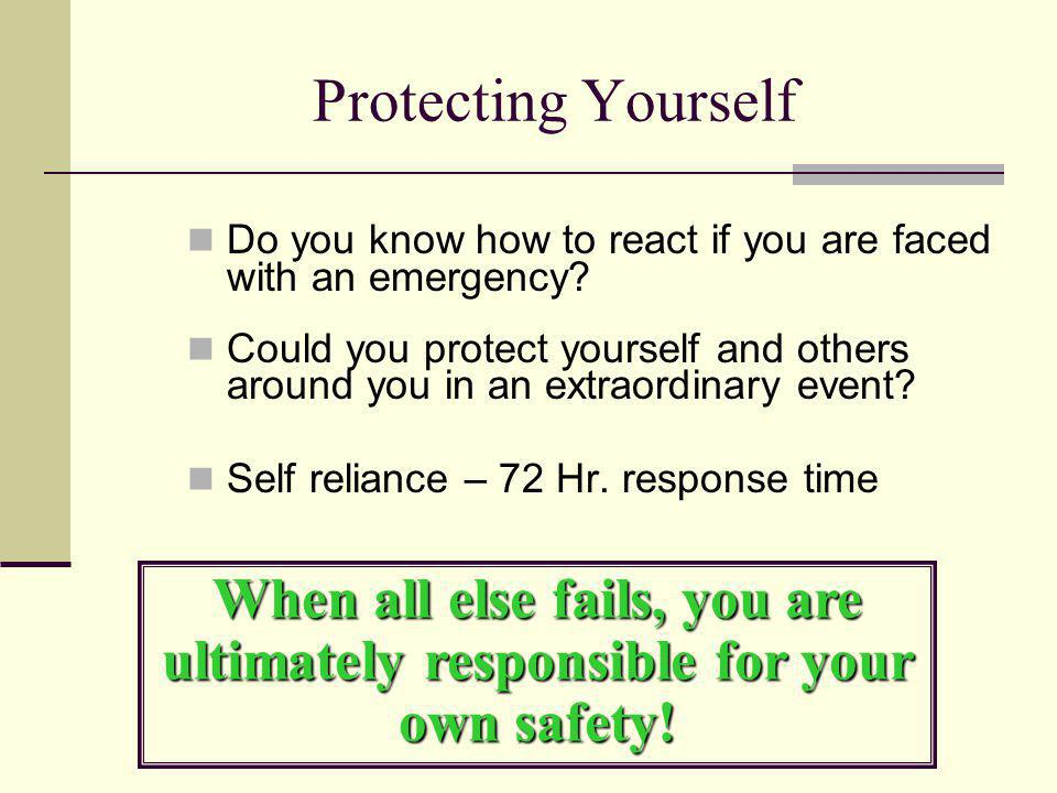 Protecting Yourself Do you know how to react if you are faced with an emergency