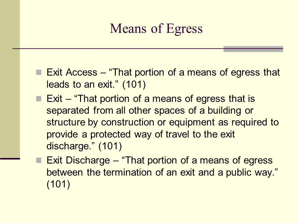 Means of Egress Exit Access – That portion of a means of egress that leads to an exit. (101)
