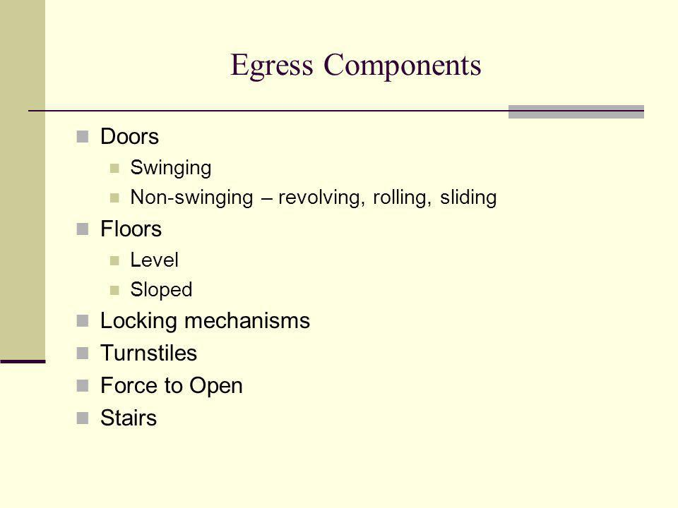 Egress Components Doors Floors Locking mechanisms Turnstiles