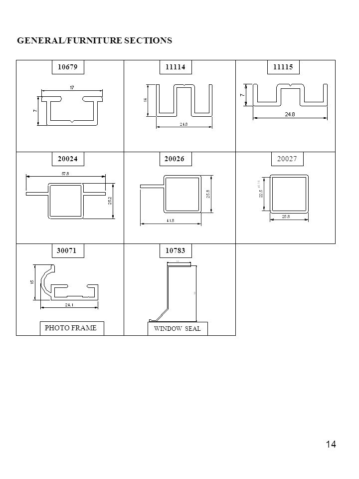 GENERAL/FURNITURE SECTIONS