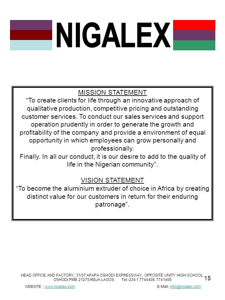 WEBSITE : www.nigalex.com E-Mail: info@nigalex.com