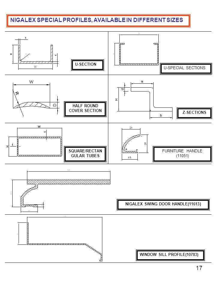 NIGALEX SPECIAL PROFILES, AVAILABLE IN DIFFERENT SIZES