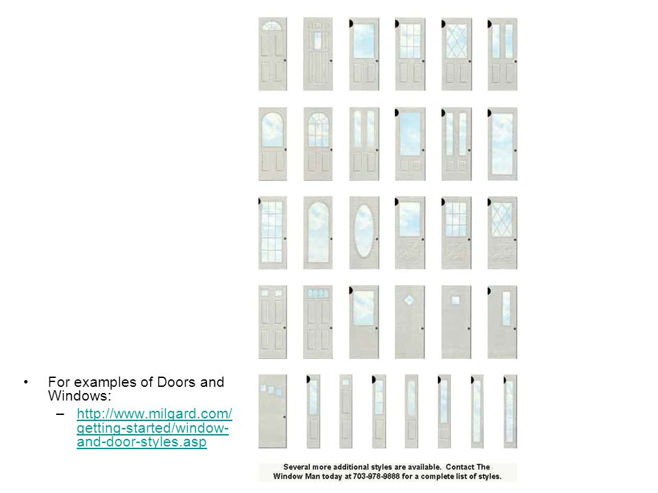 Doors For examples of Doors and Windows: