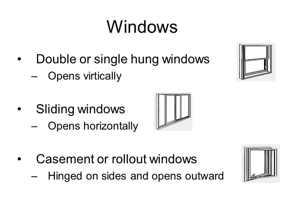 Windows Double or single hung windows Sliding windows