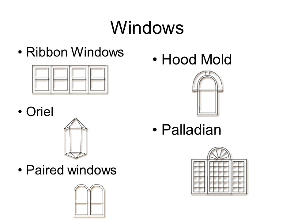 Windows Ribbon Windows Oriel Paired windows Hood Mold Palladian