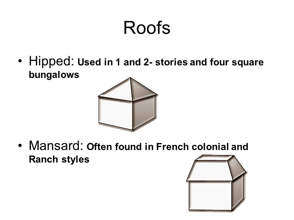 Roofs Hipped: Used in 1 and 2- stories and four square bungalows