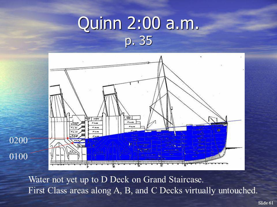Quinn 2:00 a.m. p. 35 0200. 0100. Water not yet up to D Deck on Grand Staircase.