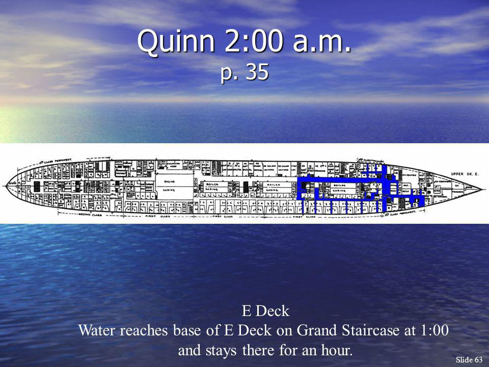 Quinn 2:00 a.m. p. 35 E Deck. Water reaches base of E Deck on Grand Staircase at 1:00.