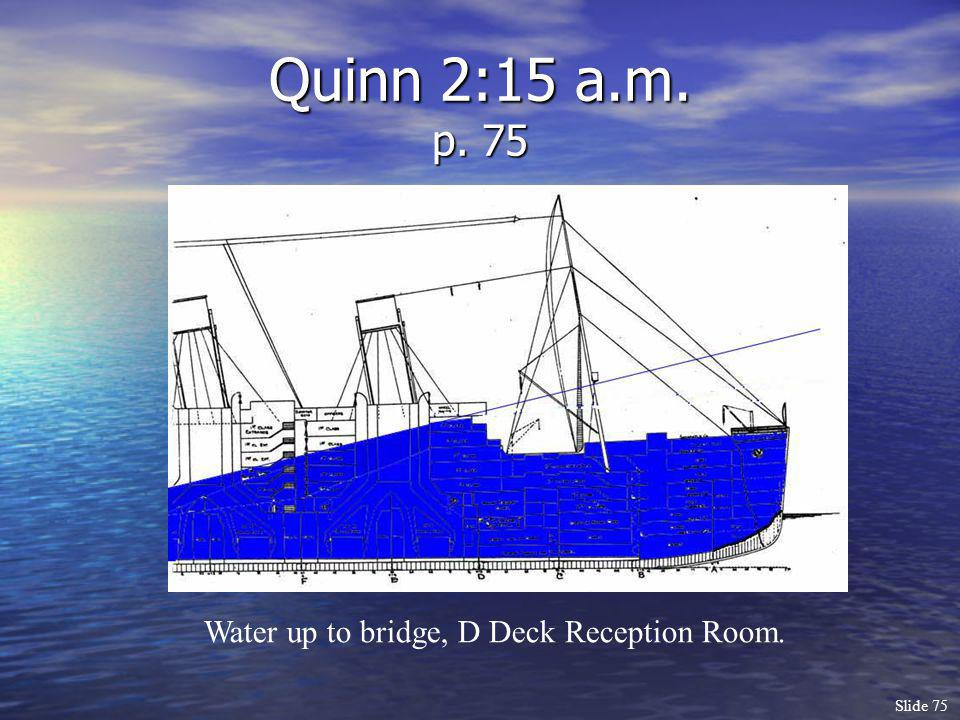 Quinn 2:15 a.m. p. 75 Water up to bridge, D Deck Reception Room.