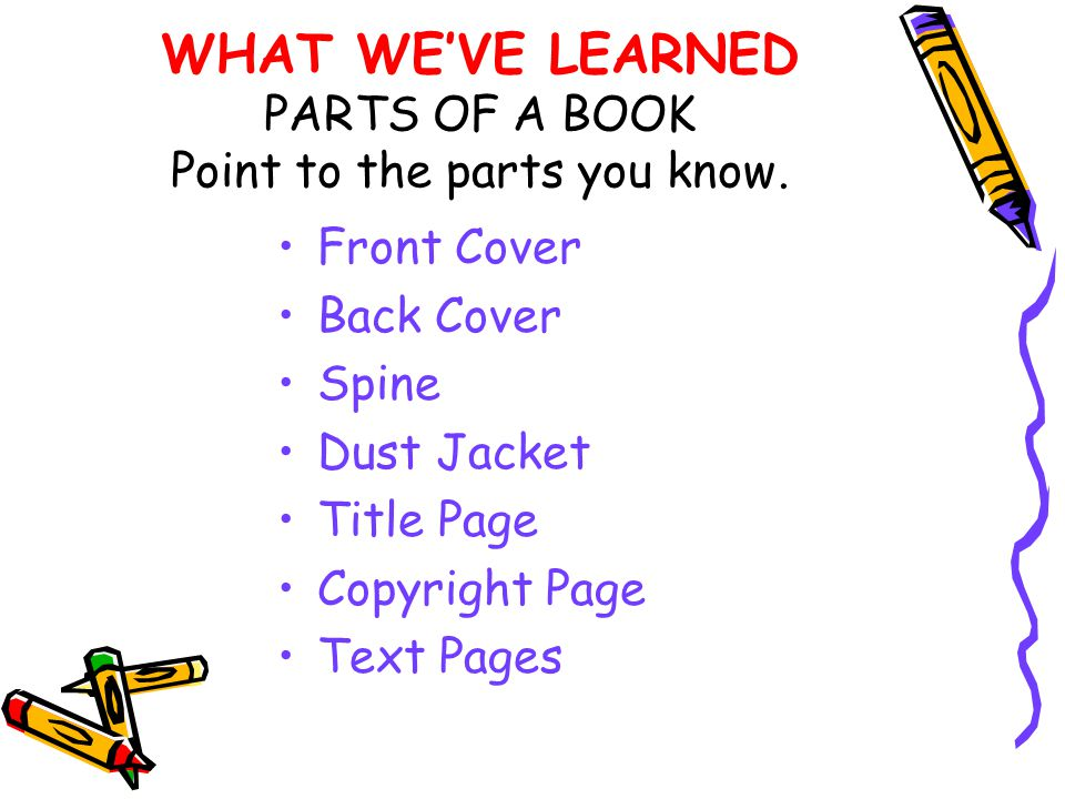 WHAT WE'VE LEARNED PARTS OF A BOOK Point to the parts you know.