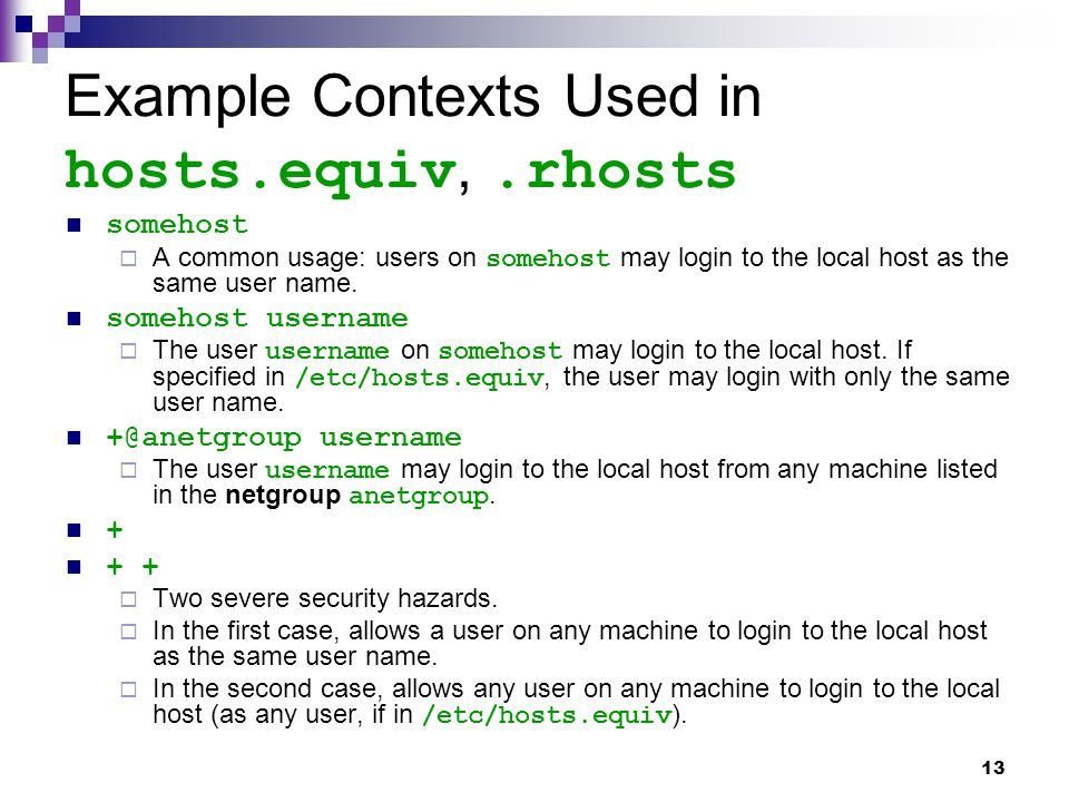 Example Contexts Used in hosts.equiv, .rhosts