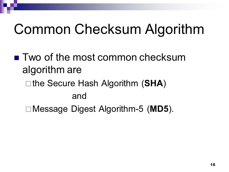 Common Checksum Algorithm