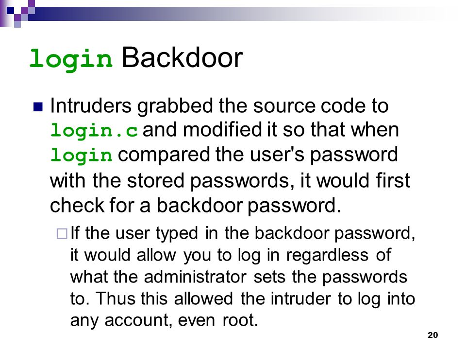 login Backdoor