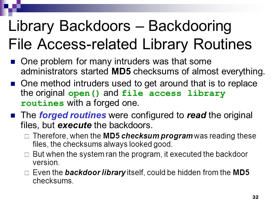 Library Backdoors – Backdooring File Access-related Library Routines