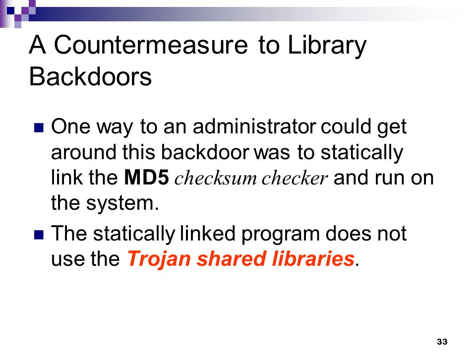 A Countermeasure to Library Backdoors