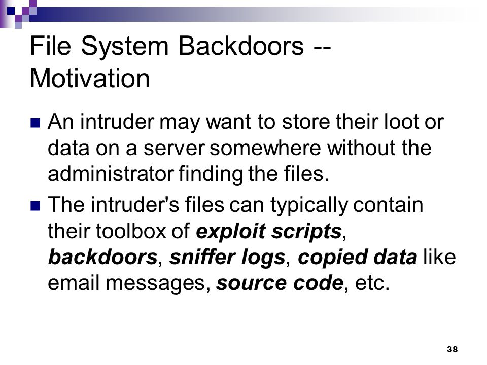File System Backdoors -- Motivation