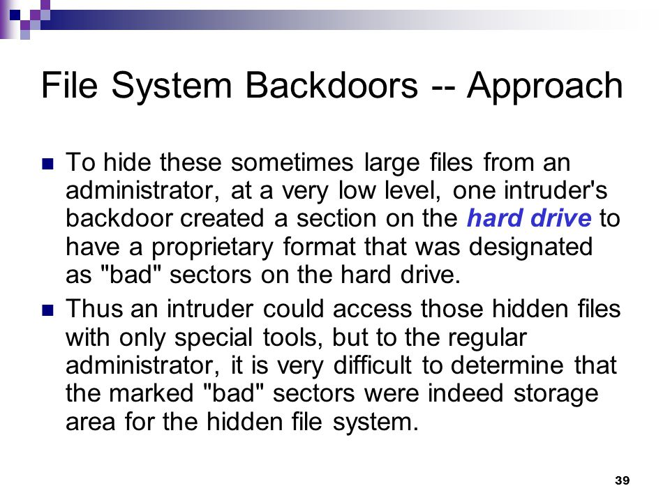 File System Backdoors -- Approach