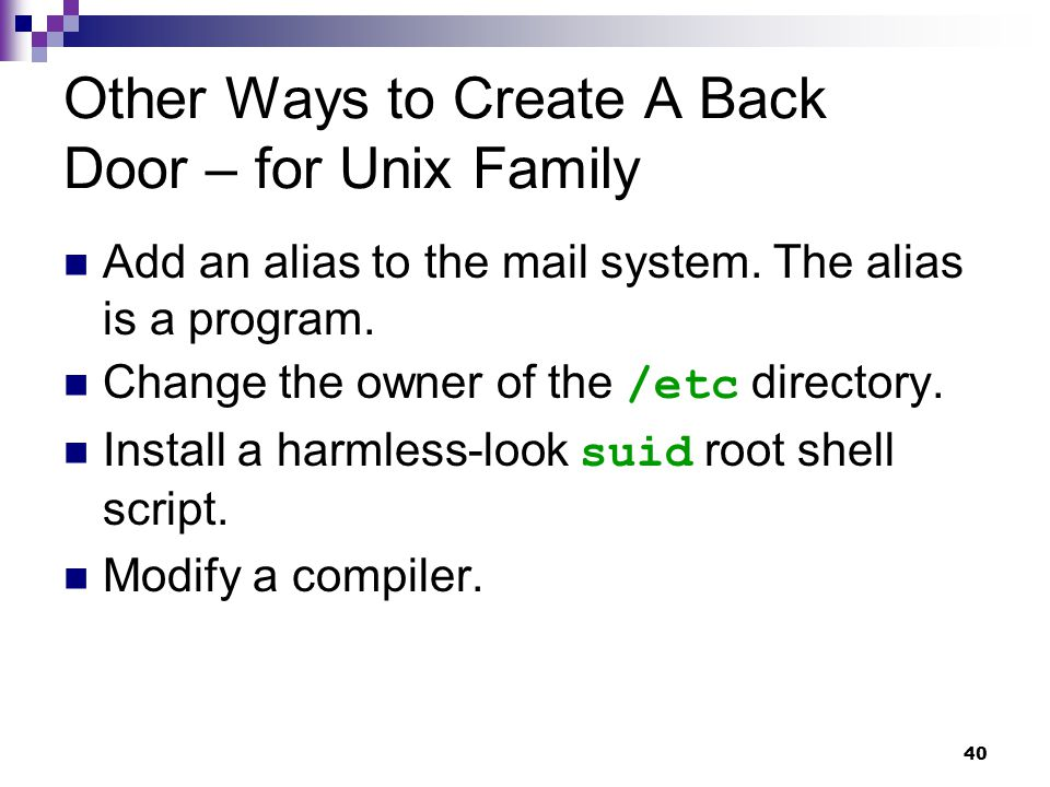 Other Ways to Create A Back Door – for Unix Family