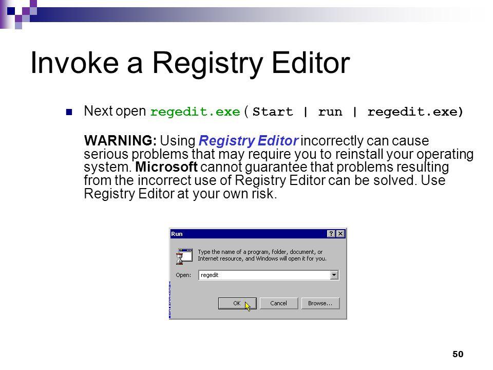 Invoke a Registry Editor