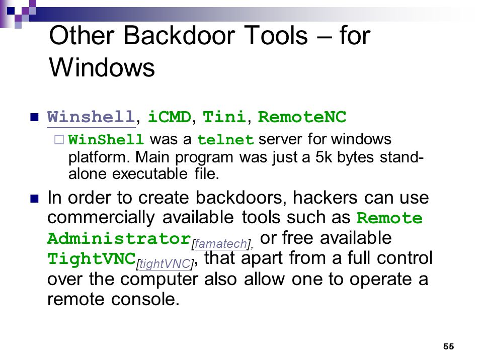 Other Backdoor Tools – for Windows