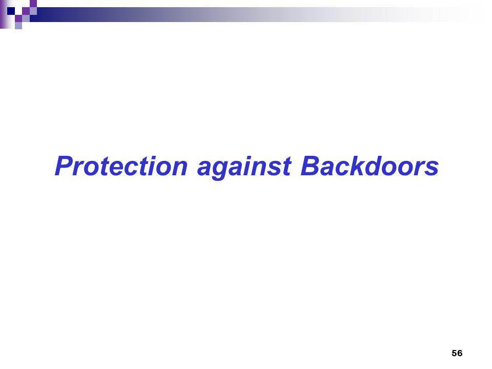 Protection against Backdoors