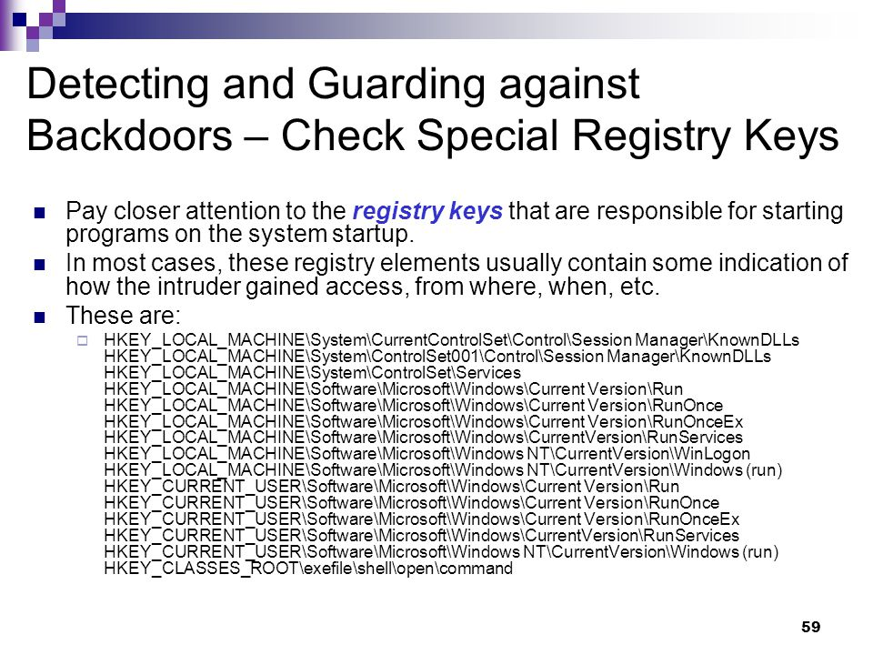 Detecting and Guarding against Backdoors – Check Special Registry Keys
