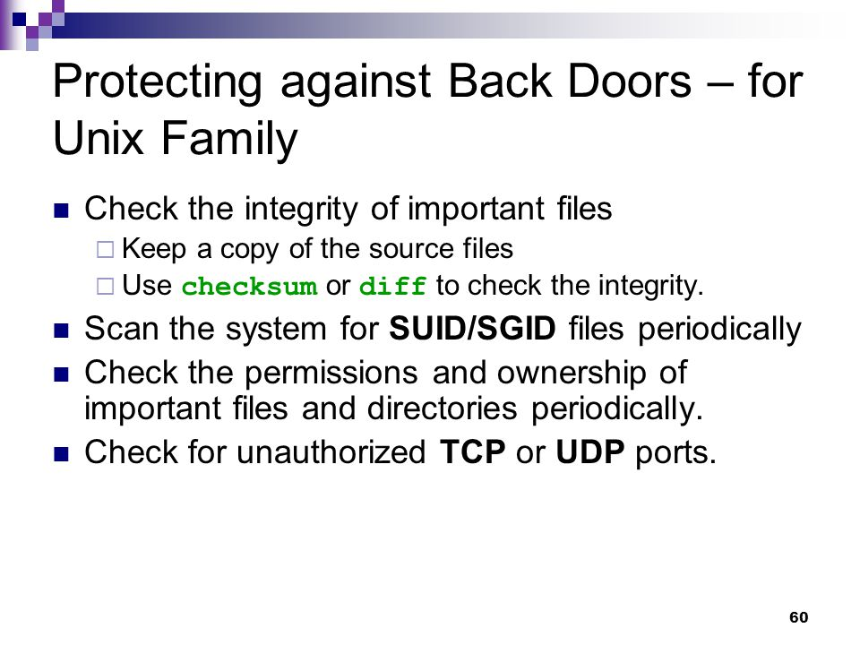 Protecting against Back Doors – for Unix Family