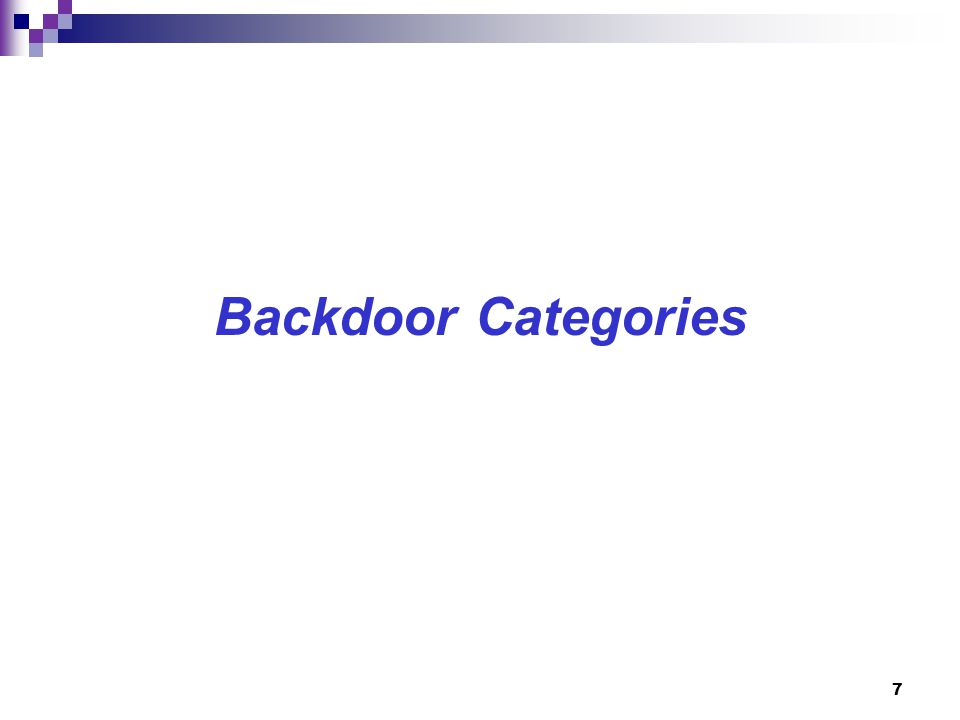 Backdoor Categories