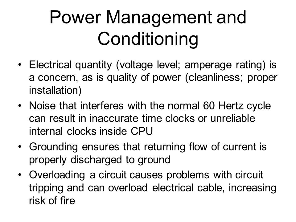 Power Management and Conditioning