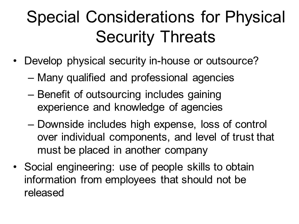 Special Considerations for Physical Security Threats