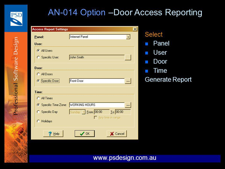 AN-014 Option –Door Access Reporting