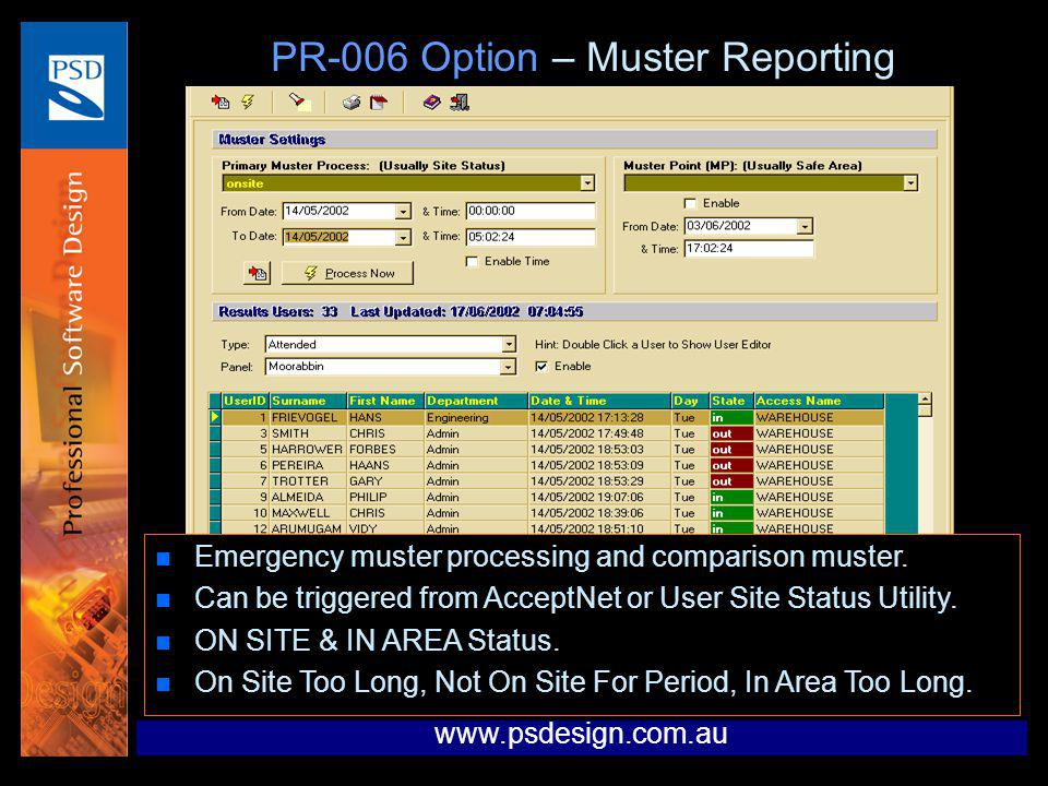 PR-006 Option – Muster Reporting