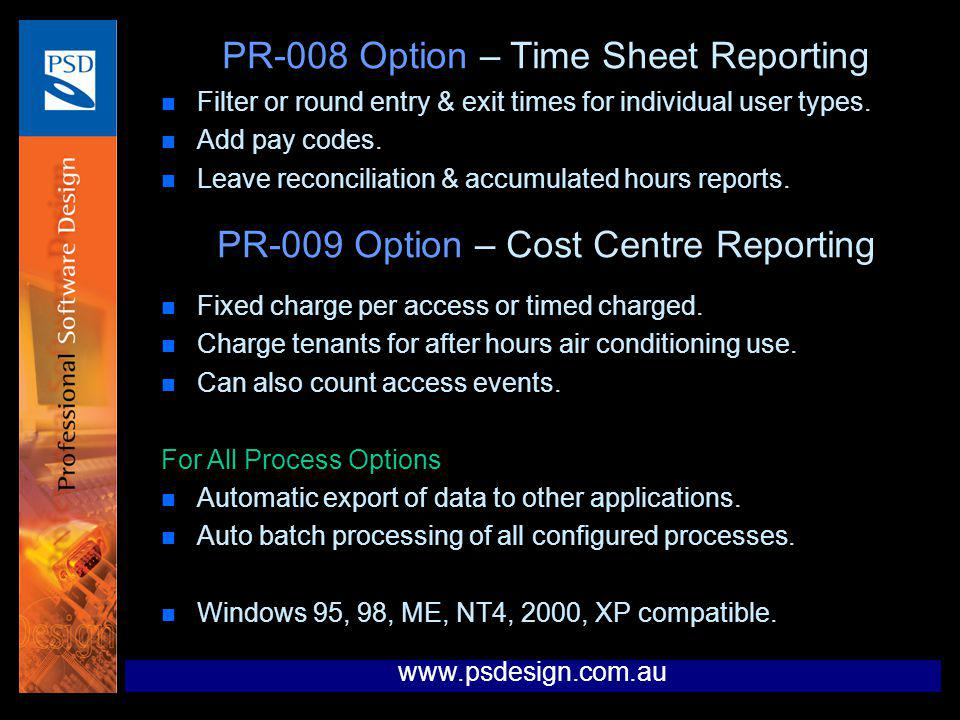 PR-008 Option – Time Sheet Reporting
