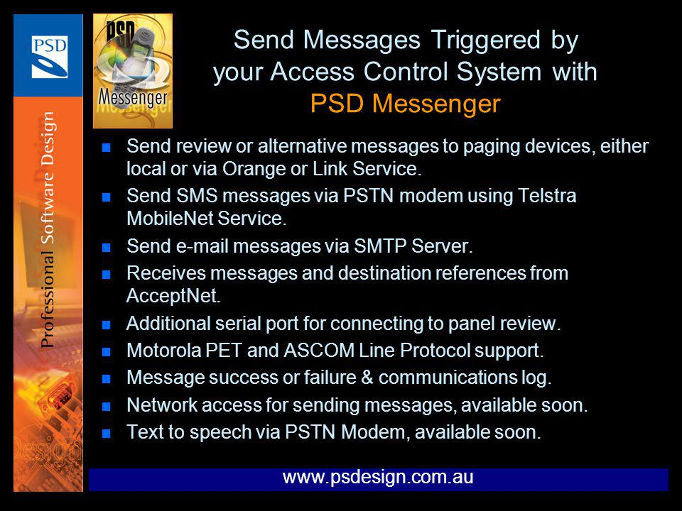 Send Messages Triggered by your Access Control System with PSD Messenger