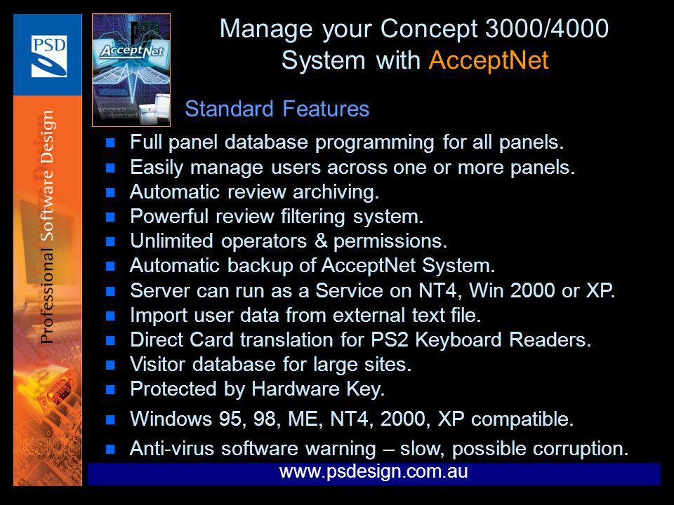 Manage your Concept 3000/4000 System with AcceptNet