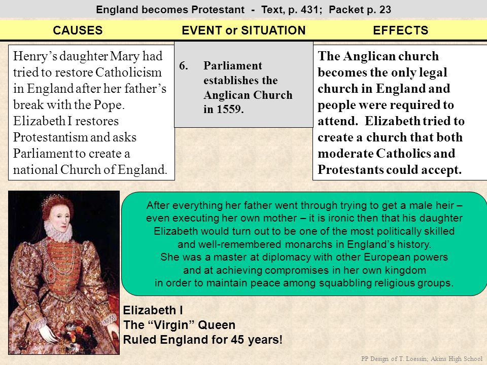 England becomes Protestant - Text, p. 431; Packet p. 23