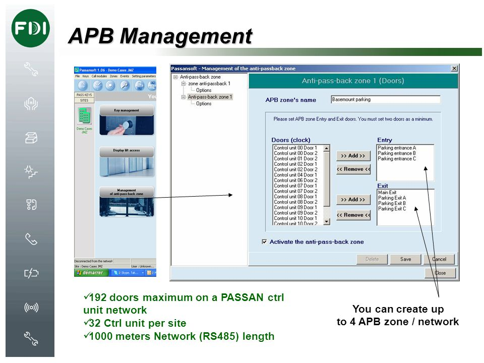 APB Management 192 doors maximum on a PASSAN ctrl unit network