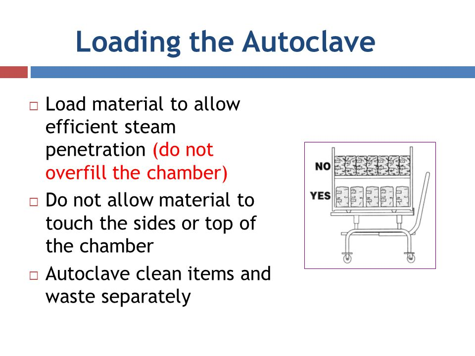Loading the Autoclave Load material to allow efficient steam penetration (do not overfill the chamber)