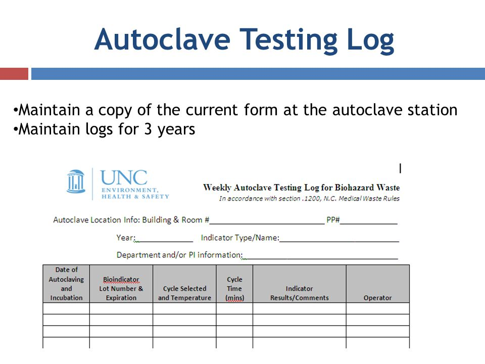 Autoclave Testing Log Maintain a copy of the current form at the autoclave station.