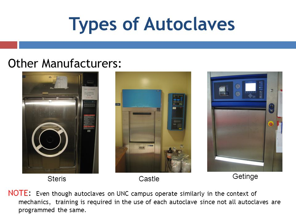 Types of Autoclaves Other Manufacturers: