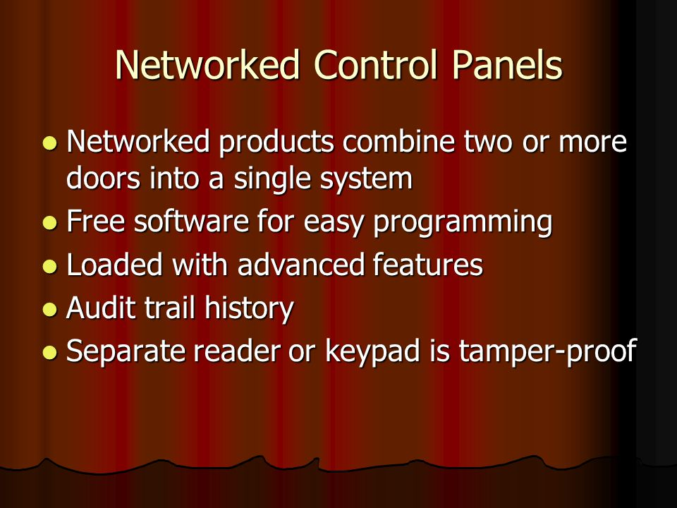 Networked Control Panels