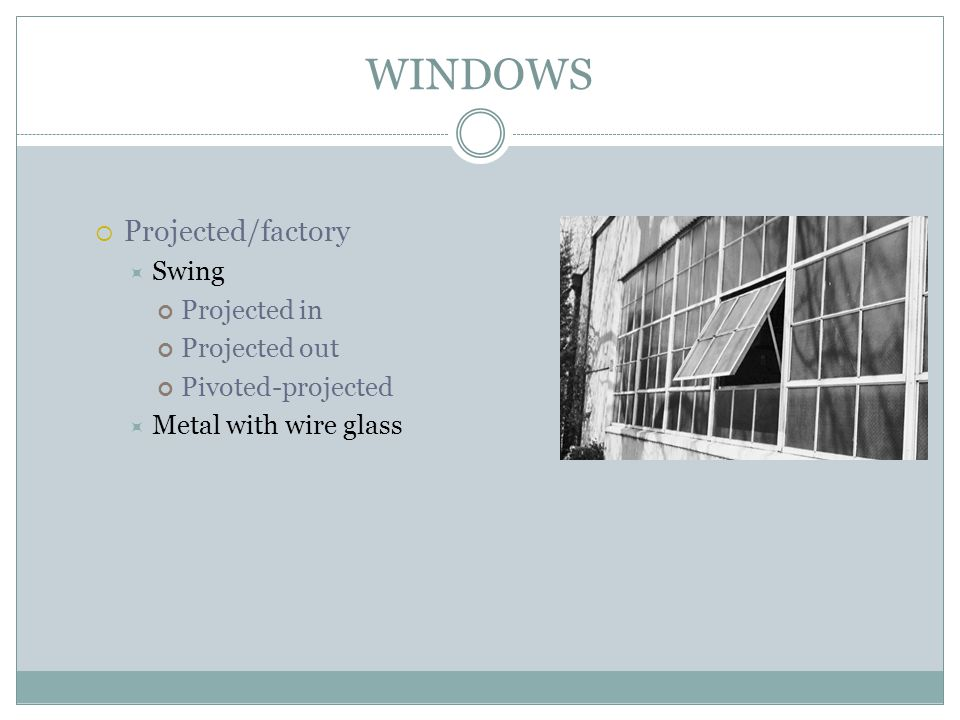 WINDOWS Projected/factory Swing Projected in Projected out
